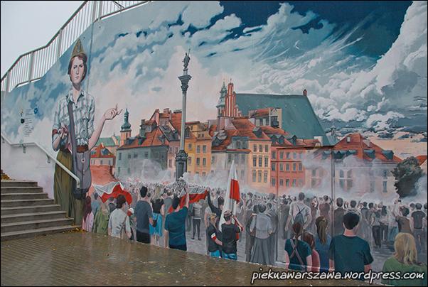Mural to nie tylko odniesienia do historii AK, ale także wkomponowanie współczesnych wydarzeń.